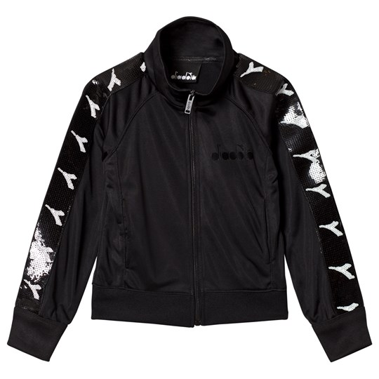 Diadora Black & Monochrome Sequin Branded Track Jacket 110