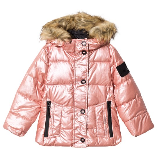 Diadora Pink Metallic Faux Fur Hooded Ski Jacket 42