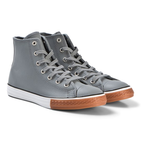 Converse Grey Chuck Taylor All Star Junior Leather Hi-Tops COOL GREY/BLACK/WHITE
