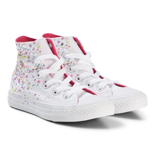 Converse White Confetti Chuck Taylor All Star Junior Hi-Tops WHITE/MULTI/NEON PINK