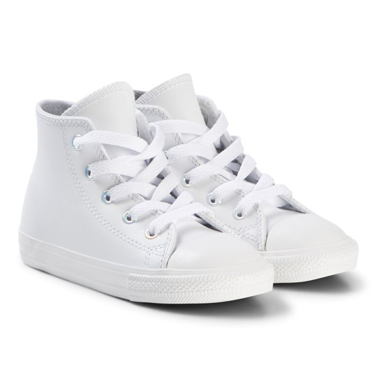 Converse White Chuck Taylor All Star Infants Leather Hi-Tops WHITE/METALLIC GUNMETAL/WHITE