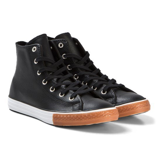 Converse - Black Chuck Taylor All Star Junior Leather Hi-Tops ... 1970f79e4c9fd