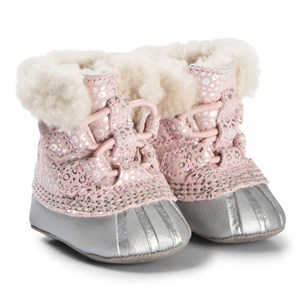 Image of Sorel Dusty Pink and Chrome Grey Caribootie Booties 16 (UK 0.5) (1128763)