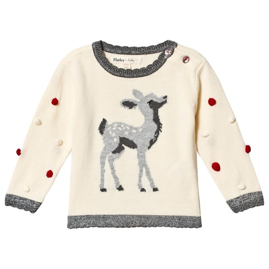Hatley White Fawn Pom Pom Sweater Cream