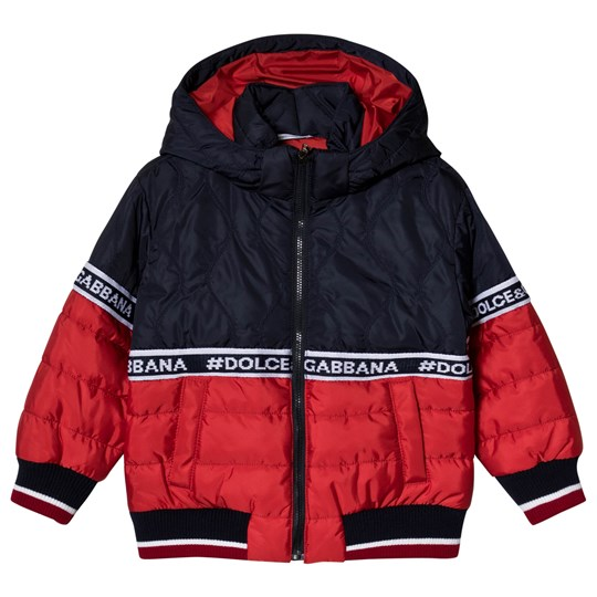 Dolce & Gabbana Red & Navy Colorblock Branded Puffer S9000