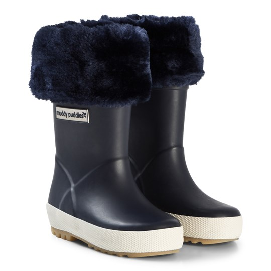 Muddy Puddles Puddleflex Fleece-Lined Rain Boots Navy Marinblå