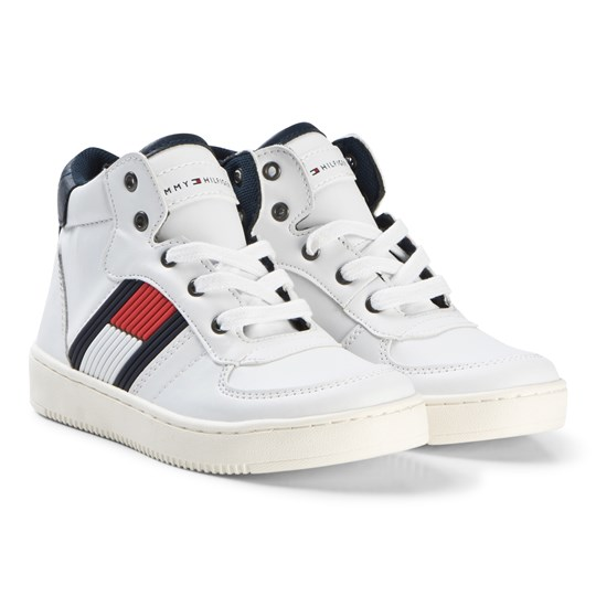Tommy Hilfiger White Flag Logo Hi Top Sneakers 100