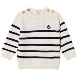 Cyrillus Cream and Navy Striped Sweater