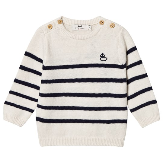 Cyrillus Cream and Navy Striped Sweater 6408