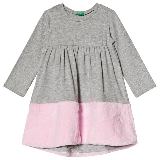 United Colors of Benetton Grey Dress with Faux-Fur Bottom Black