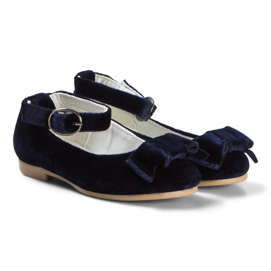 United Colors of Benetton Navy Velour Flats With Buckle Navy