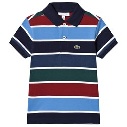 Lacoste Blue/Red/Green Striped Pique Ribbed Polo Shirt
