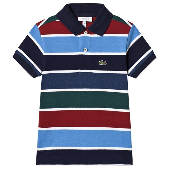 Lacoste Blue/Red/Green Striped Pique Ribbed Polo Shirt DJ1