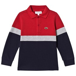 Lacoste Navy, Red & Grey Colorblock Polo Shirt