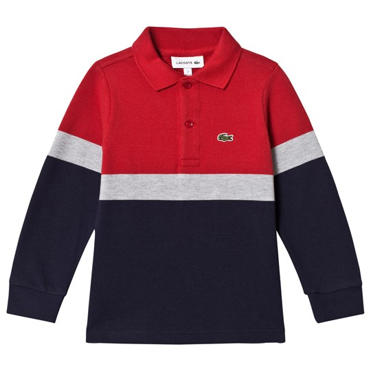 Lacoste Navy, Red & Grey Colorblock Polo Shirt E75