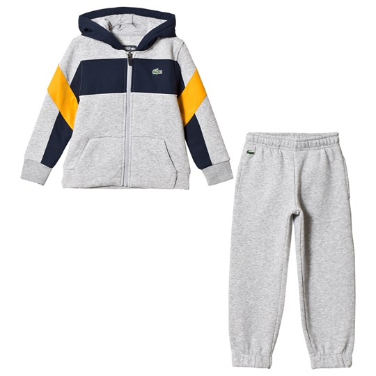 Lacoste Grey, Navy & Yellow Colorblock Tracksuit ENF