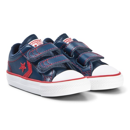 Converse Navy Star Player 2V OX Infants Sneakers MASON BLUE/ENAMEL RED/WHITE