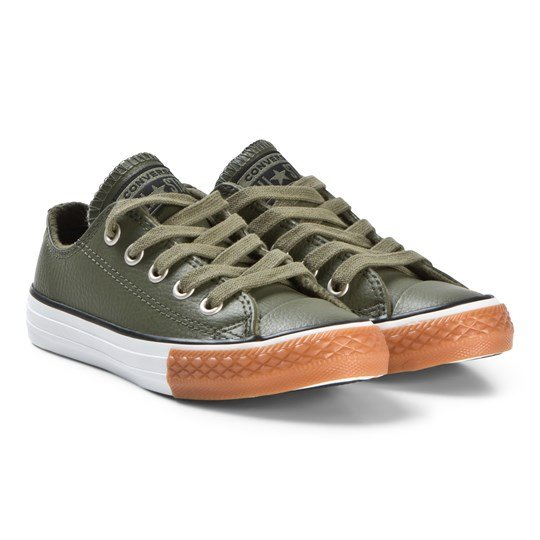 4ff9b284a8567b Converse Green Chuck Taylor All Star OX Junior Leather Sneakers FIELD  SURPLUS BLACK WHITE
