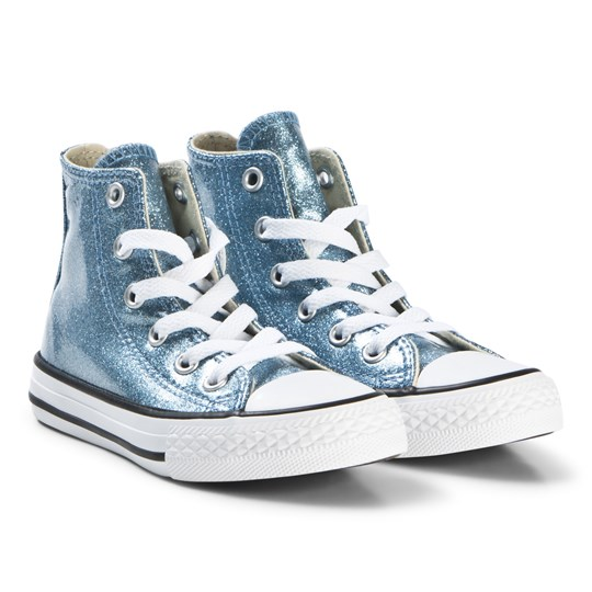 Converse Blue Glitter Chuck Taylor All Star Junior Hi Top Sneakers LIGHT BLUE/NATURAL/WHITE