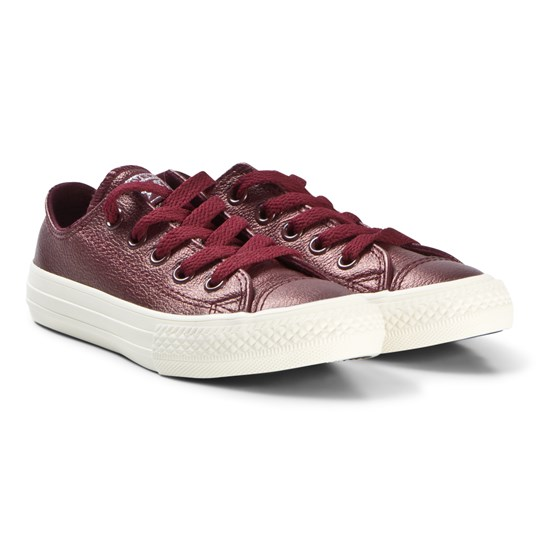 c727864baf9a Converse Metallic Burgundy Chuck Taylor All Star OX Junior Leather Sneakers  DARK BURGUNDY DARK BURGUNDY