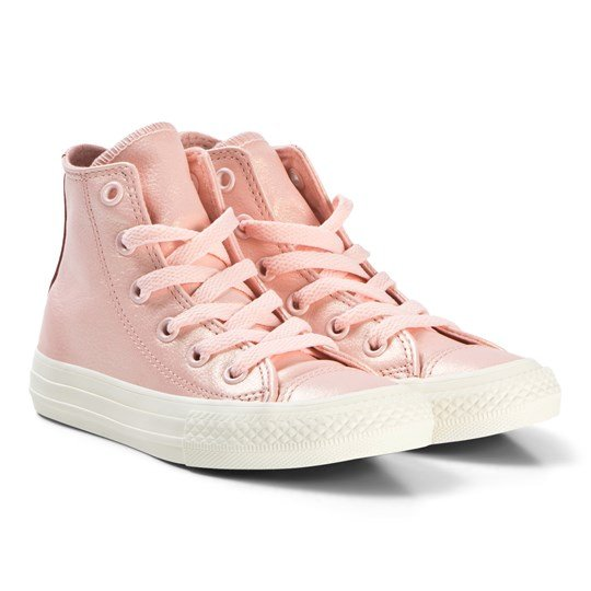 8624829a3b5 Converse Pearlescent Pink Chuck Taylor All Star Junior Leather Hi Tops  STORM PINK METALLIC GUNMETAL