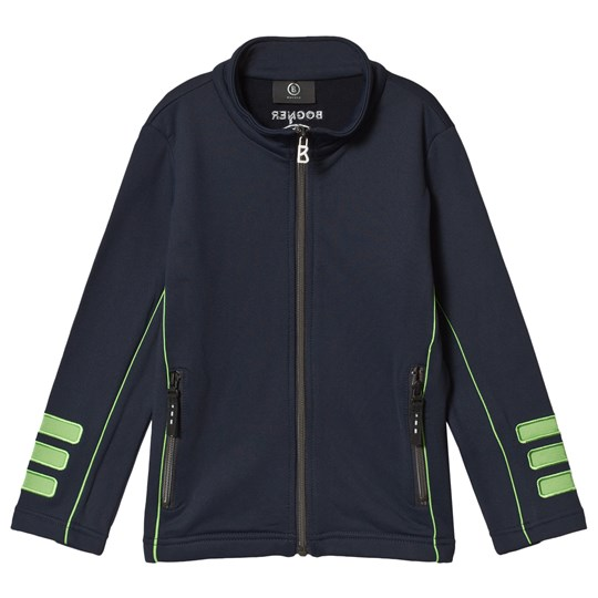 Bogner Navy and Green Full Zip Knit Top 441