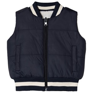 Image of Andy & Evan Navy & Cream Reversible Teddy Fleece Gilet 7 years (3125283747)