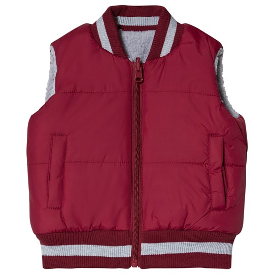 Andy & Evan Reversible Teddy Fleece Gilet Maroon/Grey RDF