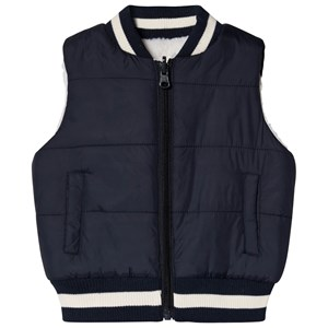Image of Andy & Evan Cream and Navy Reversible Teddy Fleece Gilet 12-18 months (3125283709)
