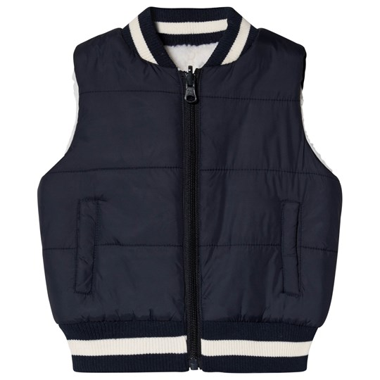 Andy & Evan Cream and Navy Reversible Teddy Fleece Gilet NVH