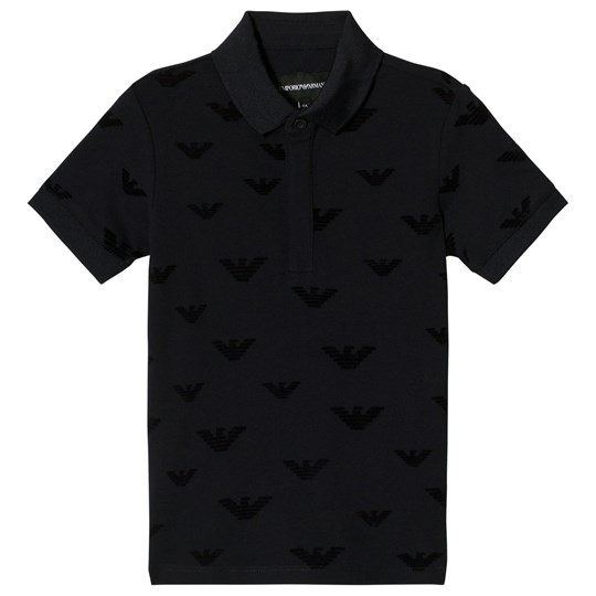 Emporio Armani Navy Eagle Logo Flocked Polo 0922