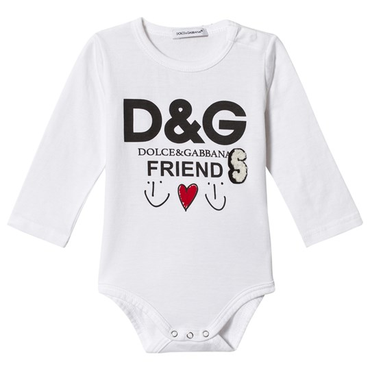 Dolce & Gabbana White Friends Print Baby Body HWU04