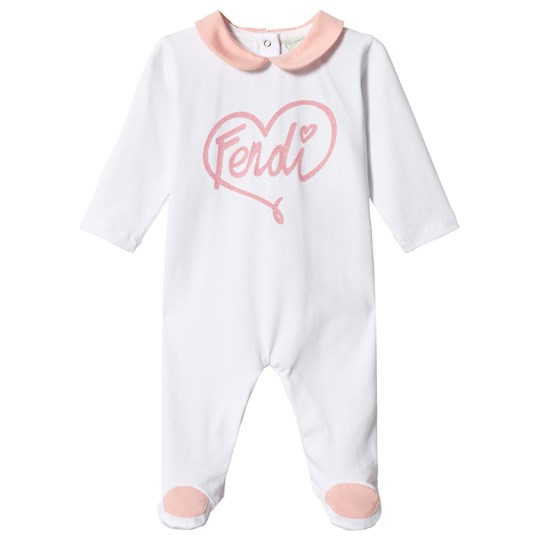 Fendi White Heart Branded Footed Baby Body F0TX3