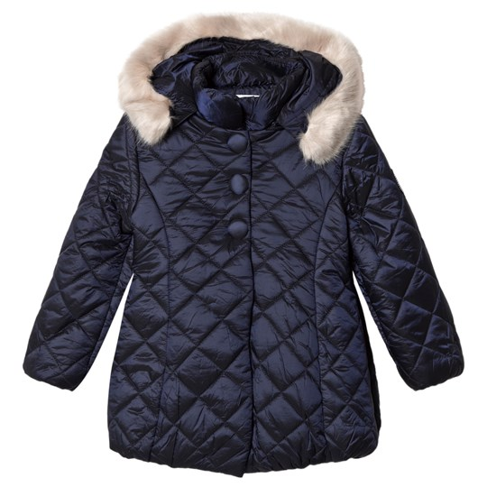 Mayoral Navy Quilted & Faux Fur Hooded Coat 34