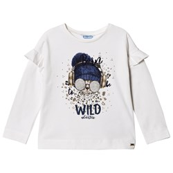 Mayoral White Born Wild Cat Graphic T-Shirt