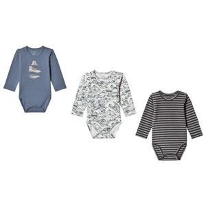 Image of Hust&Claire 3-Pack Bertram Baby Body Blue 68 cm (4-6 mdr) (3125302225)