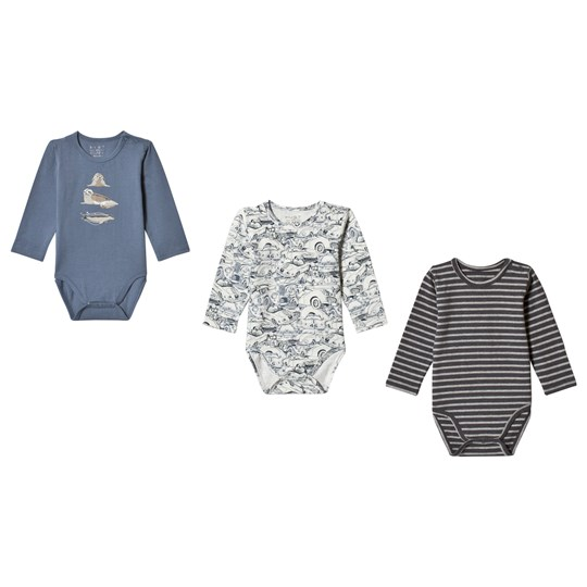 Hust&Claire 3-Pack Bertram Baby Body Blue China Blue