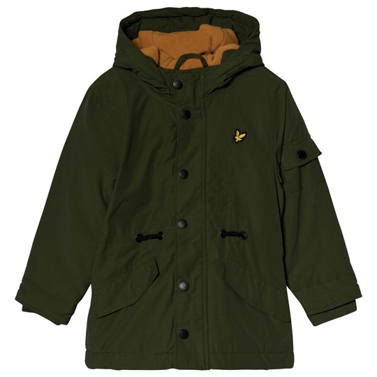 Lyle & Scott Country Green & Burnt Orange Microfleece Parka 149-WOODLAND GREEN
