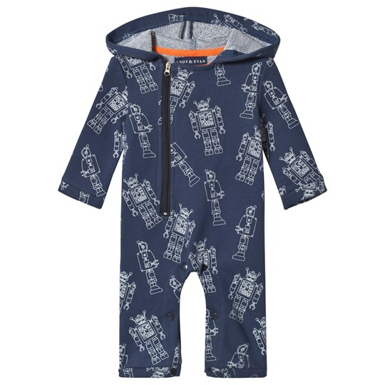 Andy & Evan Navy Robot Print Baby One-Piece BLB