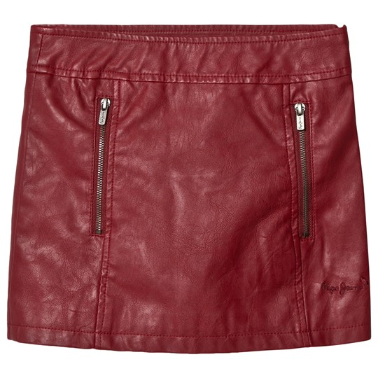 Pepe Jeans Red Suzanne Pleather Skirt
