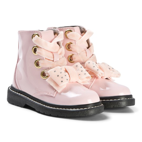 Lelli Kelly Pink Patent Emilie Boots with Velvet Diamante Bow Boots Pink Patent