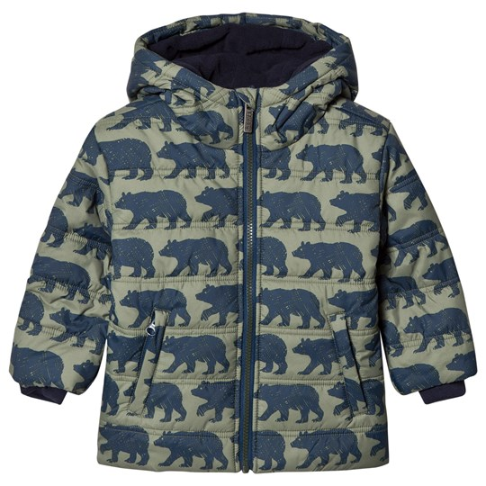 Hatley Black Bears Puffer Coat Green Olive