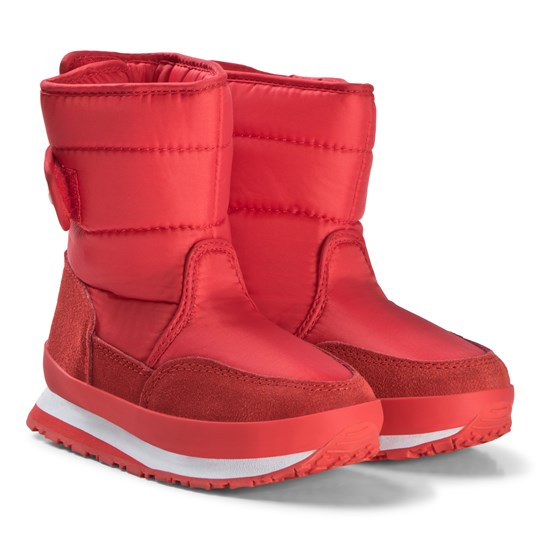 Rubber Duck Nylon Suede Solid Kids Boots Red Red
