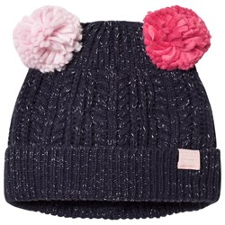 Joules Navy & Double Pink Pom-Pom Knitted Beanie