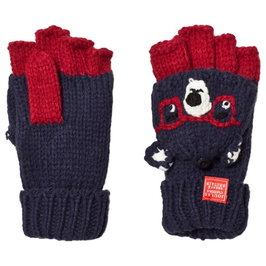 Tom Joule Navy & Red Chummy Bear Knitted Mittens Bear