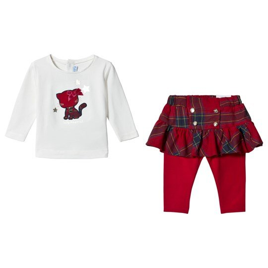 Mayoral White & Red Plaid Cat Applique Top & Leggings Set 19