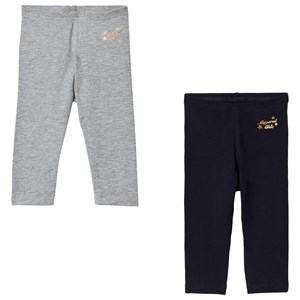 Image of Mayoral 2-Pack of Grey Marl/Navy Gold Embroidered Leggings 12 months (3125240723)