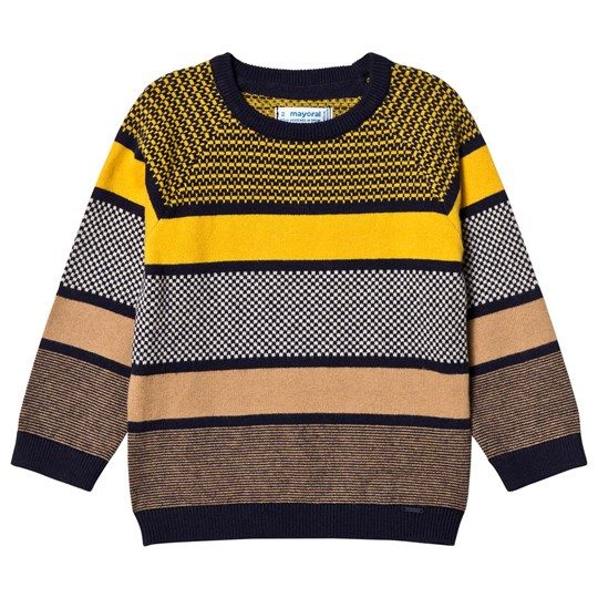 Mayoral Navy, Yellow & Camel Stripe Knit Sweater 37
