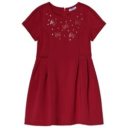 Mayoral Red Crystal Bow Jersey Dress