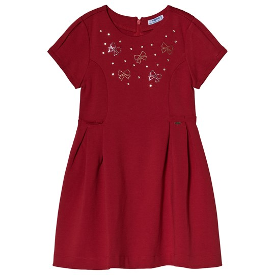 Mayoral Red Crystal Bow Jersey Dress 49